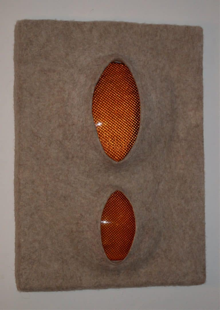 alpine glow, 2015 Filz, Styrodur, Acrylglas, 50 x 70 x 10 cm